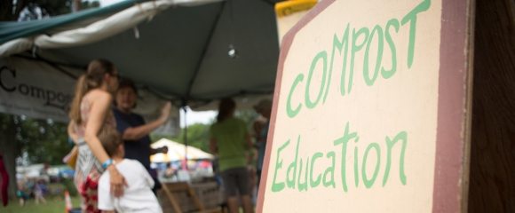 The compost education booth at the 2017 Grassroots Festival.
