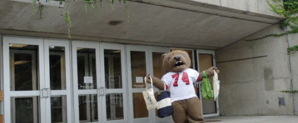 Big Red Bear in front of Cornell Store