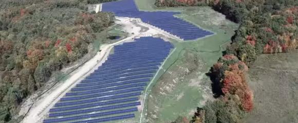 Large solar array as seen from above