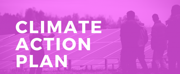 Text overlay on image of solar farm: Climate action plan - carbon neutrality by 2035