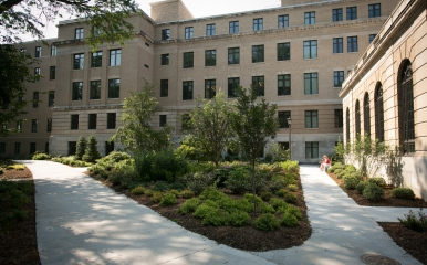 Warren Hall building and landscaping