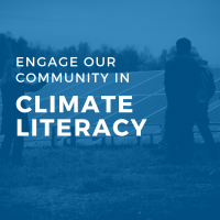 Dark blue icon with text: engage our community in climate literacy