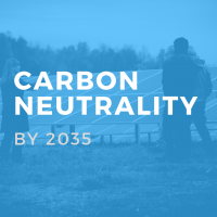 Blue box with text 'carbon neutrality by 2035'