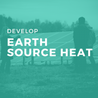 Teal icon with text: develop Earth Source Heat