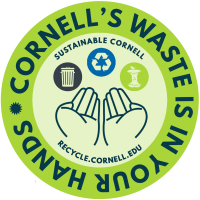 "Image of sticker with hands holding a recycling, landfill, and compost symbol with text ""Cornell's Waste is in Your Hands"""