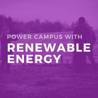 Purple icon with text: power campus with renewable energy