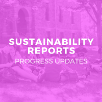 Pink circle with text: Sustainability Reports, Progress Updates