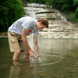 Testing water at Buttermilk Falls