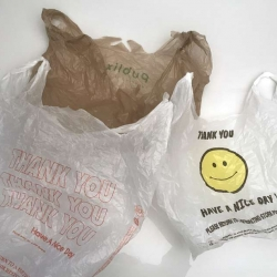 White, clear, and brown plastic bags