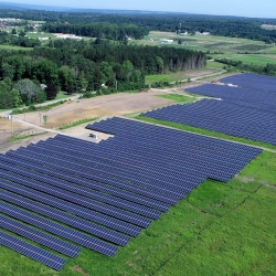 Cascadilla Community Solar Farm, as seen from a drone in summer