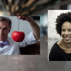 Bill Nye '77 (left) and marine biologist and conservation expert Dr. Ayana Elizabeth Johnson (right) discussed climate solutions at the December New York Sustainability Conference.