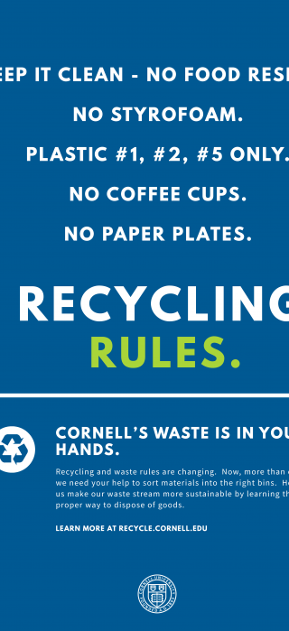 Photo of recycling poster summarizing new recycling rules on this page