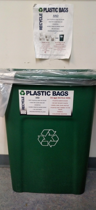 Cornell University plastic bag recycling bin.