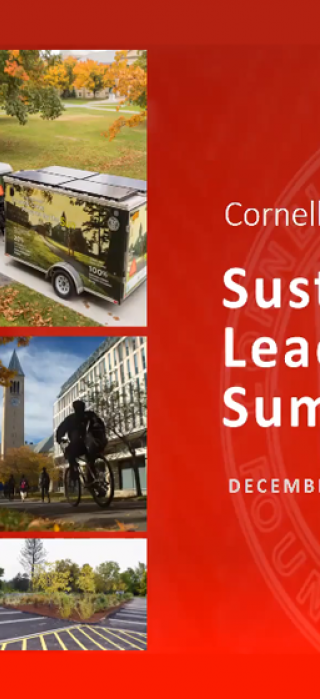 Collage of Cornell photos including solar farm, student sustainability group leader and bking