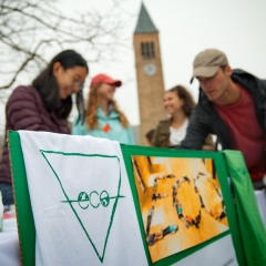 "Students tabling on Ho Plaza behind a sign for the student club ""ECO"""