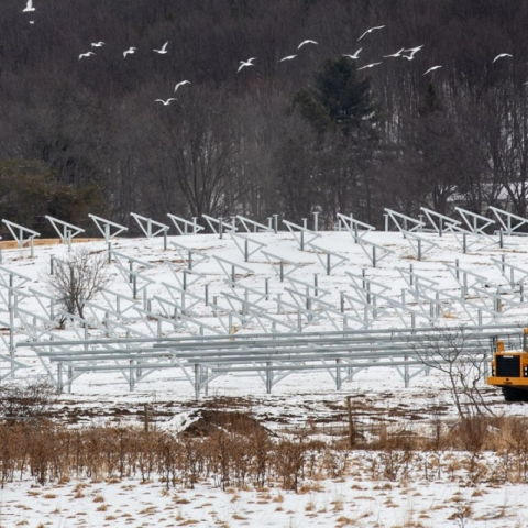 Construction is underway at the Cascadilla Community Solar Farm.