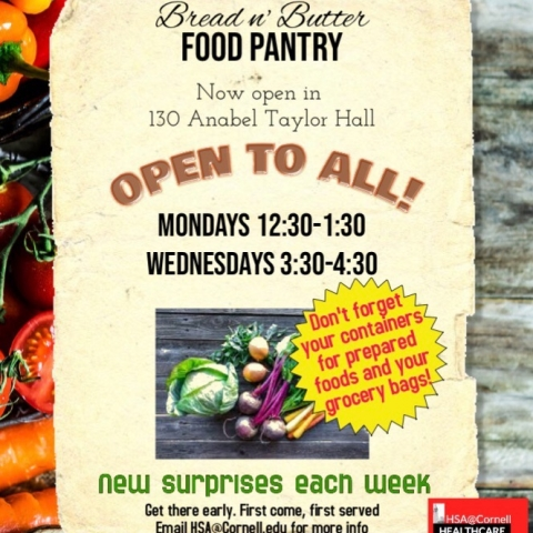 Bread 'n Butter Food Pantry Open to All! Mondays 12:30-1:30 PM and Wednesdays 3:30-4:30 PM