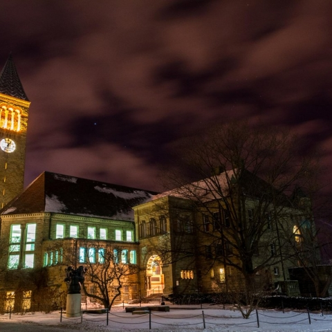 Cornell clock tower at night
