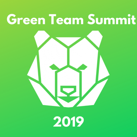 Green Team Summit 2019 with white bear on a green background