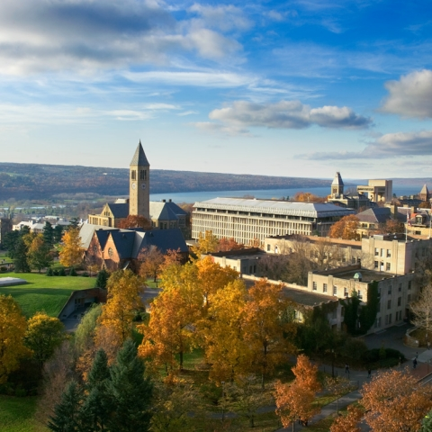 Cornell campus as seen from drone