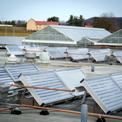 Solar collector system installed atop Guterman Research