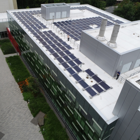 Solar panels on roof of Human Ecology Building