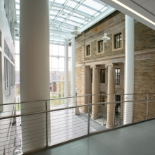 The Physical Sciences atrium and interior bridge connecting the new building to adjacent Rockefeller building.