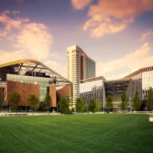 Cornell Tech campus at sunset