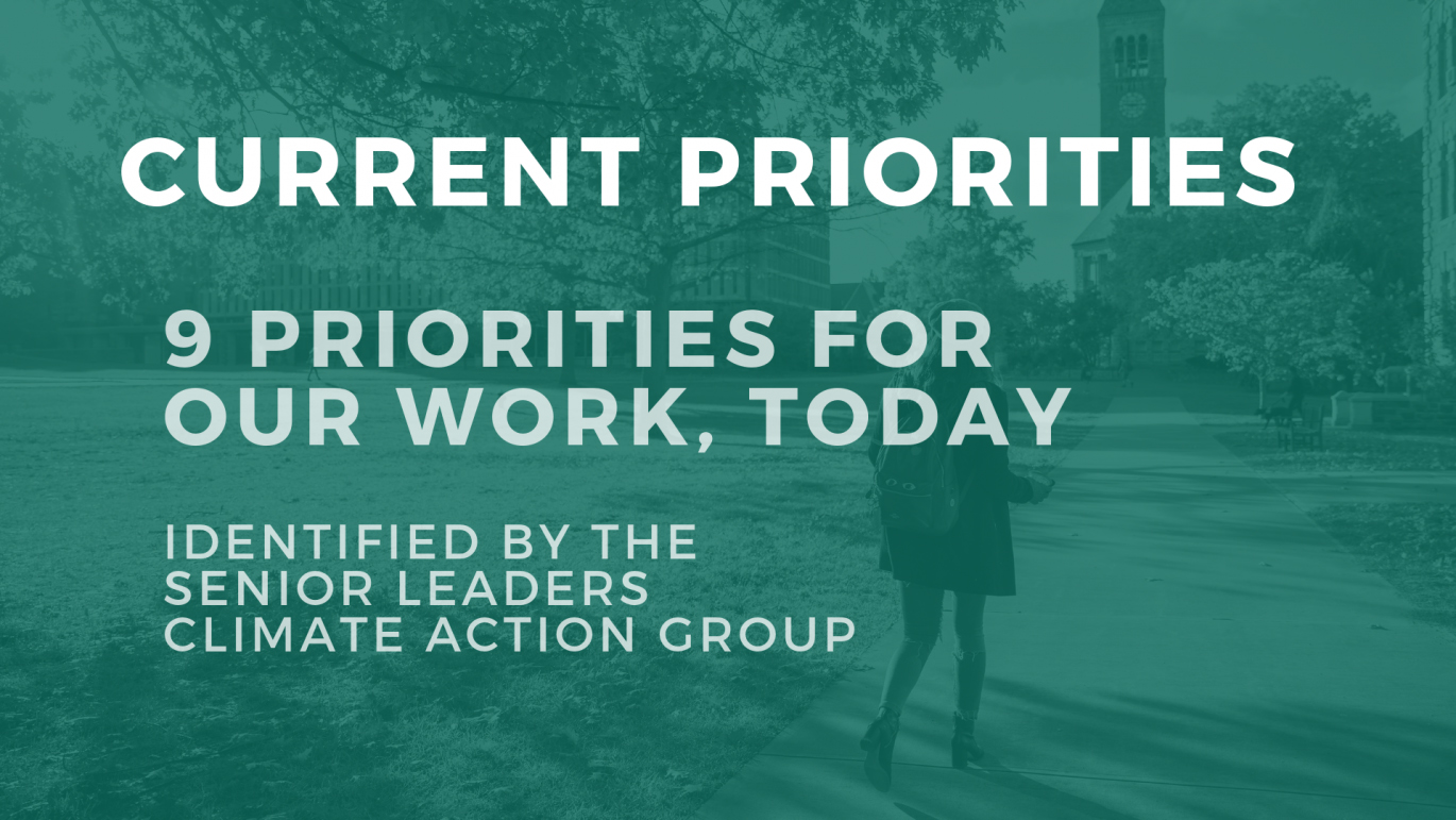 Text over image of campus: Current priorites - 9 focus areas determined by the senior leaders climate action group