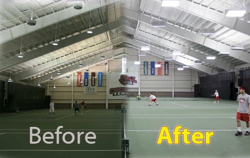 Before and after side by side of the Reis Tennis Center before and after lighting retrofit. The new lights are clearly brighter.