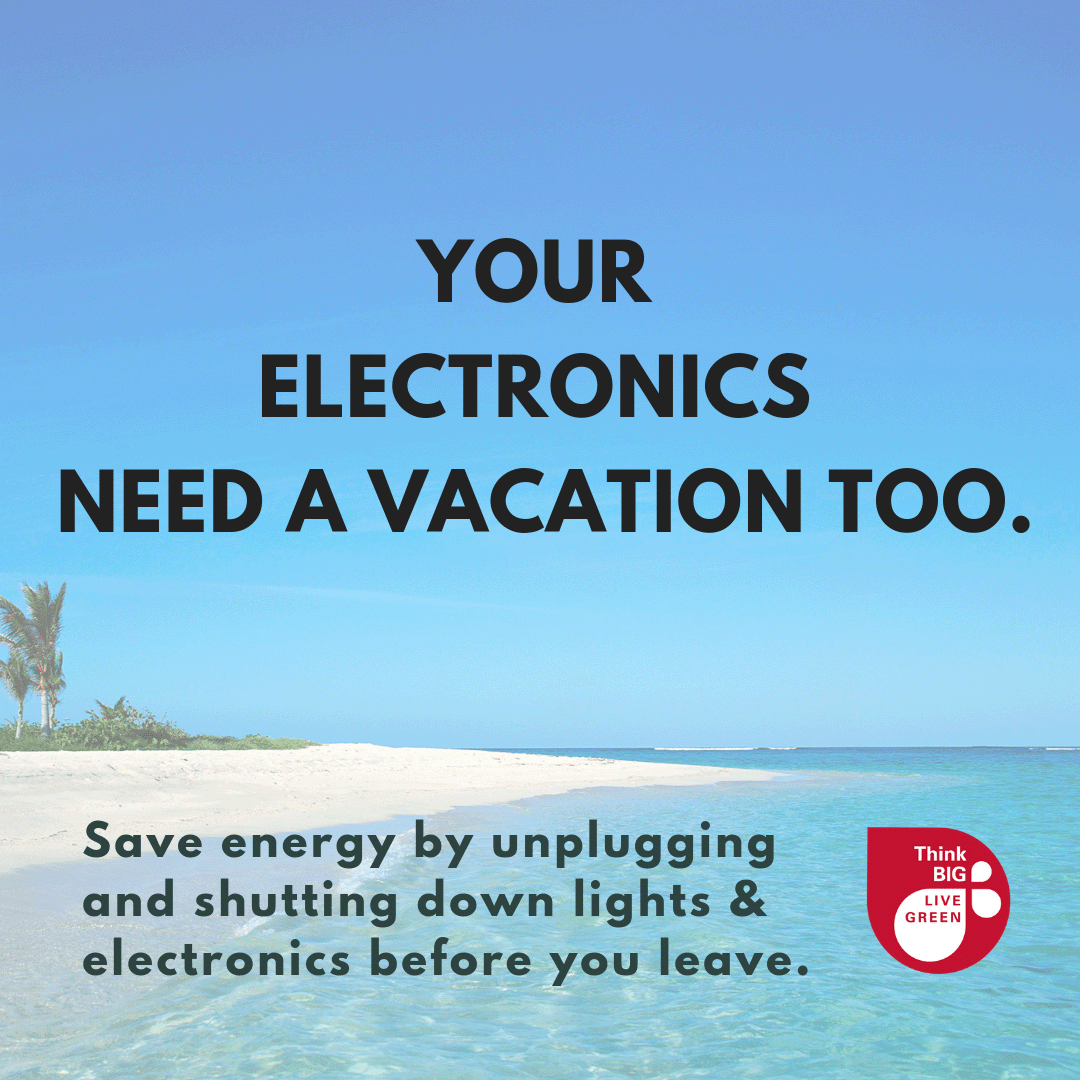 "Image of beach with text ""your electronics need a vacation too"""