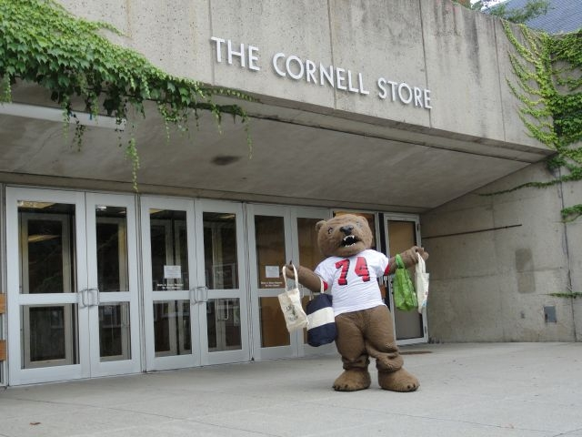 Big Red Bear in front of the Cornell Store