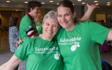 Staff wearing sustainability gear
