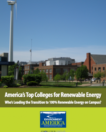Environment America report cover: America's Top Colleges for Renewable Energy
