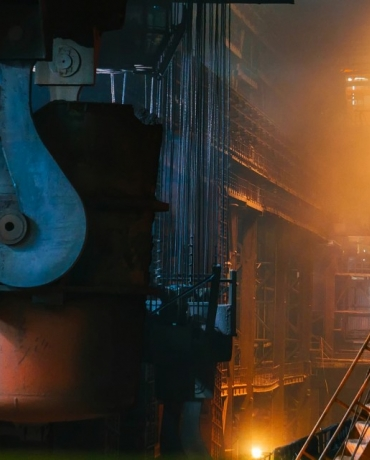 Inside a steel manufacturing plant.